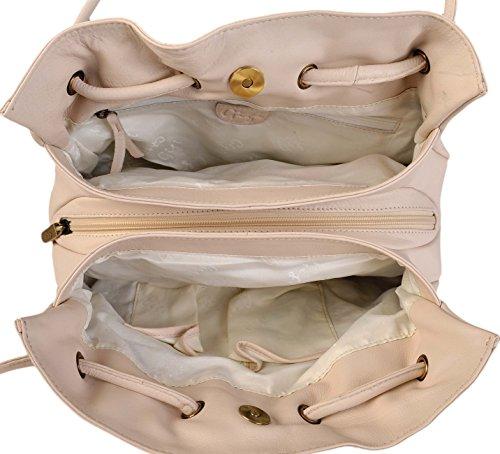 Gigi Othello Pelle Morbida 3 Sezione Borsa A Spalla Vari Colori - Migliore Venditore 4323 - medio marrone, Small Avorio