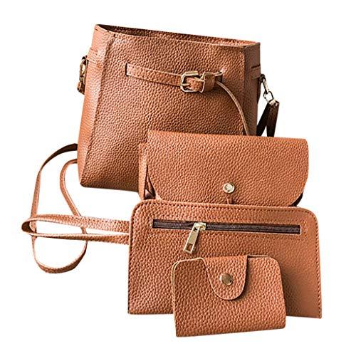 Meibax borse donna tracolla, borsa a quattro pezzi tinta unita + borsa messenger + pochette + pacchetto di carte donne borse messenger crossbody secchiello borsa spalla tote borsello spiaggia bag