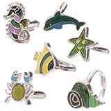 Subitodisponibile 6piezas anillo Dell Umore Che Cambia Color con Creature Marine