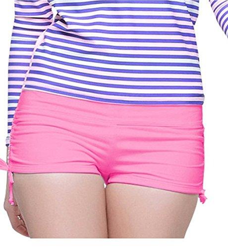 Micosuza klassischen Frauen Badeshorts Boardshorts Beach Bikinihose mit Verstellbaren Trägern, Pink (24 Zoll Swim Trunks)