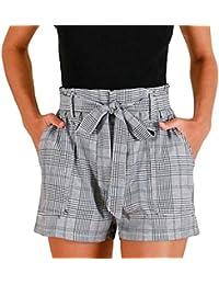 Toamen Femmes Pantalon Pantalon chaud à rayures en vrac Shorts pour femmes Pantalons de plage Rayures à carreaux Été (XL, Gris)