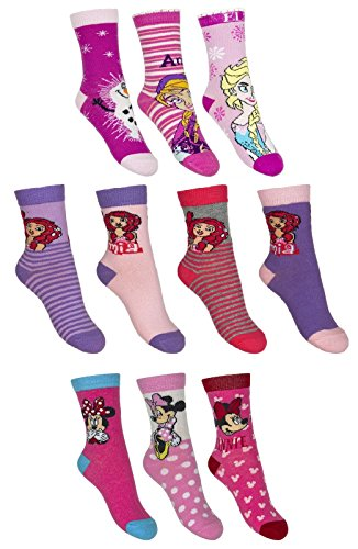 Dealzone 10er Pack Socken Kinder Jungen Mädchen Strümpfe Mix 27-30/Mädchen