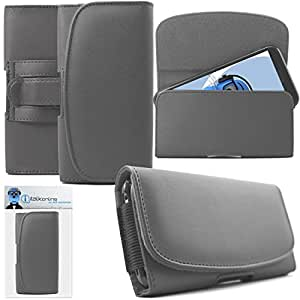 Gionee S6 Pro Grey PREMIUM PU Leather Horizontal Executive Side Pouch Case Cover Holster with Belt Loop Clip and Magnetic Closure