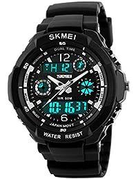 Reloj doble / deportes al aire libre de los hombres / forma electrónica impermeable de la montaña / reloj multi-funcional del salto de la personalidad , large silver