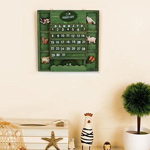 Price comparison product image Original Calendar, Original Calendar Decoration Vintage European Style Wooden Calendar for Living Room Bedroom Wall Desk Decorations