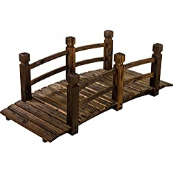 Maxstore Pont en Bois Rustique et Massif, Marron, L 150 x l 67 x H 55 cm, protégé des intemperies par Une Technique de Bois brûlé, supporte Un Poids Maximum de 150 kg