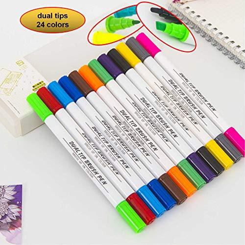 ker Stifte Doppelspitzen breite und feine Spitze Kunst Sketch Marker Marker Marker Manga Marker Transparent Kunststoff Box für Malerei Zeichnen Design 24 colors multi ()