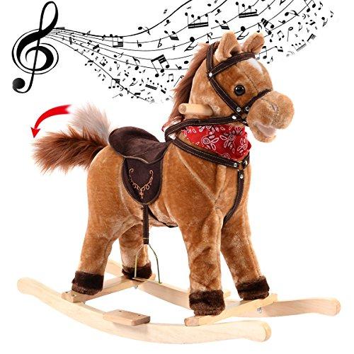 Costway Kids Ride On Horse Wooden Rocking Rocker Chair Baby Nursery Children Sounds Brown