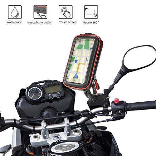 """Rupse Motorrad Handyhalterung, Wasserdicht Motorrad Halterung 360°drehbar mit Touch-Screen GPS Handytasche Kopfhöreranschluss, Motorrad Tasche Halterung des Rückspiegel für Smartphone 4.7\""""-5.4\"""""""