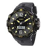 Hiwatch Reloj Deportivo para los Hombres al Aire Libre Impermeable Reloj Digital de Cuarzo Militar Dato Multifuncional LED Alarma Compana Cronómetro (Amarillo)