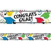 amscan Multi-Colours Graduation Hats Foil Banners