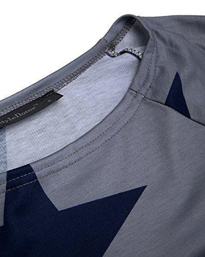 StyleDome Damen Shirt Schulterfrei Herbst Langarm Tops Sterne Drucken Asymmetrisch Jumper Locker Bluse Pullover Grau