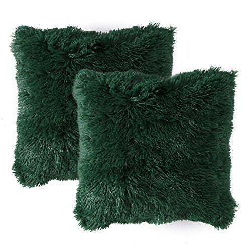 Miulee set of 2 cuscini divano decorativo fodere cuscini lussuoso arredo casa per divano letto auto 18 x18 pollici 45 x 45 cm verde scuro