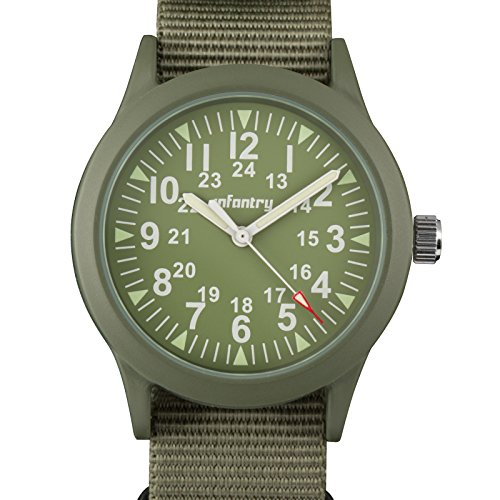 Infantry Herren Analoges Quarzwerk Armbanduhr Grün Sport Outdoor Nylon Band