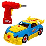 SGILE Race Car Take-A-Part Toy with Toys Educational Construction Toys for Kids with Tool Drill Lights and Sounds
