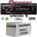 Renault Laguna 1 & 2 - Autoradio Radio Pioneer MVH-S300BT - Bluetooth | MP3 | USB | Android | iPhone 4x50Watt Einbauzubehör - Einbauset