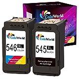 ColoWorld 545XL 546XL Druckerpatronen Remanufactured für Canon PG-545 CL-546 Tintenpatronen für Canon Pixma TS3150 TS3151 TS205 TR4550 MG2555S MG2550S MX495 MX490 Ip2850 Drucker(1 Schwarz,1 Farbe)