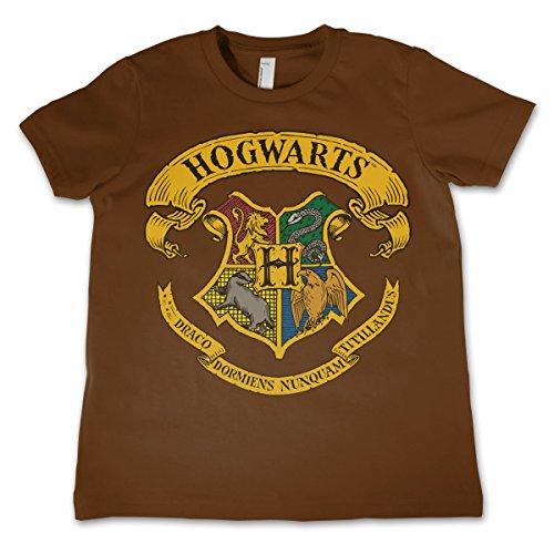 HARRY POTTER Offizielles Lizenzprodukt Hogwarts Crest Unisex Kinder T-Shirt - Braun 5/6 Jahre