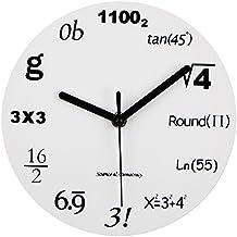 """Math Clock, Timelike orologio da parete moderno design unico, matematica equazione orologio–ogni ora caratterizzata da un semplice Math Equation, 12""""(30CM)"""