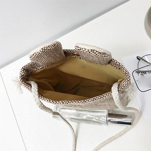Longra Donna Sacchetto di spalla sveglio della piccola borsa del sacchetto di panno del Mianma dolce dolce Cachi