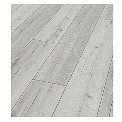 Westco KT12D3181 12mm Rip Oak Laminate Contract Flooring Plank - White - low-cost UK light shop.