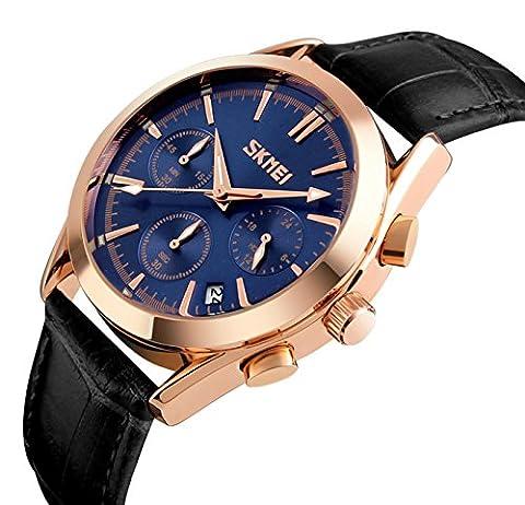 Herren Luxus Echtes Lederband Wasserdicht Geschäft Lässig Uhren Männer Datum Kalender Chronograph Multifunktion Analog Quartz Armbanduhr Männlich Sub Dials Geschäft Kleid Uhren (Blau)