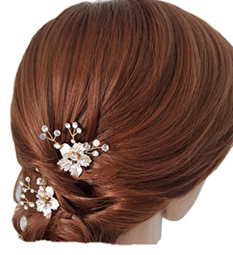 ab34fe9c98757b 2 St. Damen Haarschmuck Haardekoration Haardeko Haarkamm Haarkämme Braut  Hochzeit Schmuck Accessoires Kristall Kristallen Perlen