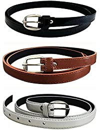 Glamio Girl's PU Leather Belts Combo of 3 (Black,Brown & White)(GLA/WOMENBELTS1/BKBRWH)