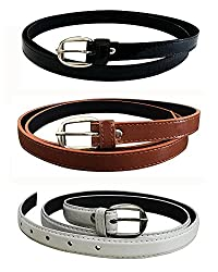 Glamio Girl's PU Leather Belts Combo of 3 (Black,Brown & White)(GLA/WOMENBELTS/BKBRWH)