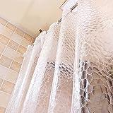 ShowPower Nr.1018 Duschvorhang 3D Kieselsteine, Eva Wasserdicht, Halb-Transparent Klar, Anti Schimmel, 220 x200cm mit Frei 12 Ringe, Bad Vorhang für Badezimmer Vergleich