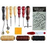 14Teilig, Leder Werkzeuge Leder Craft Nähten Werkzeug Näh-Kits Ahle Fingerhut gewachst Gewinde von melhope
