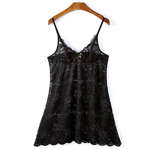 Pyjamas Frauen sexy Kleid Mesh tiefen V Versuchung Rock Sling Hause Schlafrock Zwei Stücke (Höschen GAOLILI (Farbe : Schwarz, größe : S) - Mesh-zwei Stück Höschen
