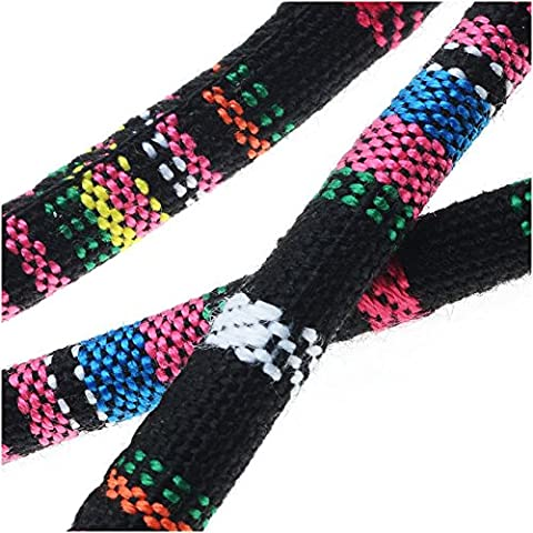 Multi-Colored Cotton Cord, Round Woven Strands 6mm Thick, 3 Feet, Black / Pink Mix