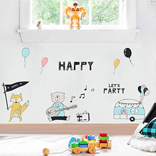 zbinbin Wandaufkleber Bär Fuchs Musik Party Geburtstag Party Thema Wandaufkleber Kinderzimmer