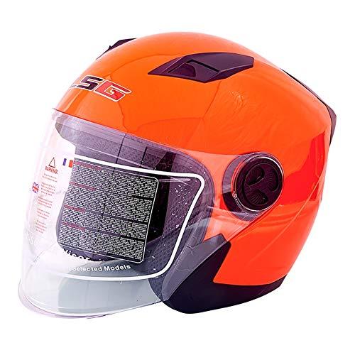 HECHEN Männlicher Motorradhelm für Männer und Frauen - halbüberdachter Sonnenschutz mit UV-Schutz von Vier Jahreszeiten,orange