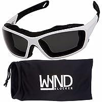 WYND Blocker Motorcycle Riding Glasses Extreme Sports Wrap Sunglasses (White/Smoke)