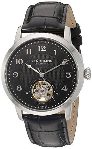 Stuhrling Original Perennial 781.02 - Montre Automatique - Affichage Analogique - Bracelet Cuir Noir et Cadran Noir - Homme