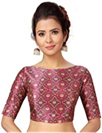 563d31e251d STUDIO SHRINGAAR WOMEN S PINK POLY SILK PRINTED STITCHED SAREE BLOUSE WITH  ELBOW LENGTH SLEEVES