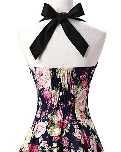 MISSMAO Damen Retro Blumen Kleid 50s Abschlussball Kleider Cocktail kleid Neckholder Rockabilly Swing Kleid Navy Blumen