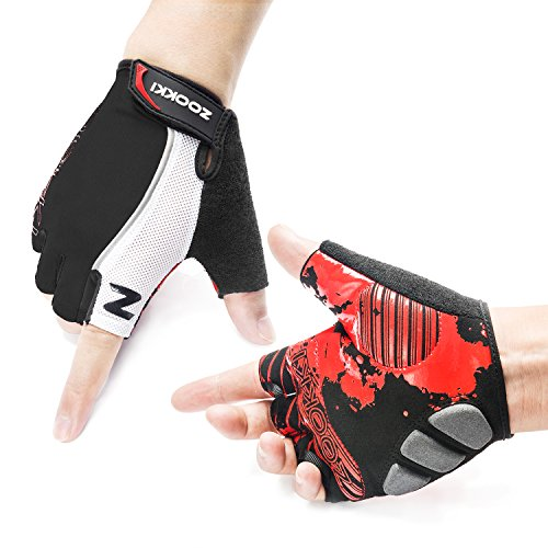 Zookki Cycling Gloves Mountain Bike Gloves Road Racing Bicycle Gloves Light Silicone Gel Pad Biking Gloves Half Finger Bicycling Gloves Riding Gloves Men/Women Work Gloves(Half Finger & Black & L)