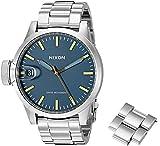 Nixon Men's A4412076 Chronicle 44 Analog Display Swiss Quartz Silver Watch