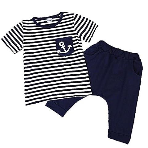 CHIC-CHIC 2 Pièces Garçon Ensemble Imprimé Motif Rayures T-shirt Tops avec Shorts Pantalon Harem Sarouel Vêtements Enfant Marine