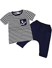 CHIC-CHIC 2 Pièces Garçon Ensemble Imprimé Motif Rayures T-shirt Tops avec Shorts Pantalon Harem Sarouel Vêtements Enfant