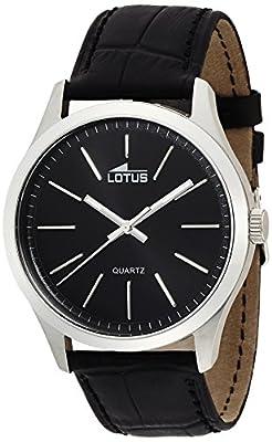 Lotus 15961/3 - Reloj de cuarzo para hombre, con correa de cuero, color negro de Lotus