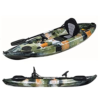 Dealourus Single or Tandem Sit On Top Fishing Kayak. With Rod Holders, Storage Hatches, Padded Seat & Paddle (Blue Camo) by Dealourus