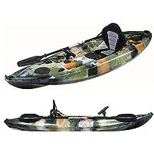 dealourus único o Tandem Sit On Top Kayak pesca. Con los titulares de caña de pescar, almacenamiento escotillas, asiento acolchado y remo (azul camuflaje)
