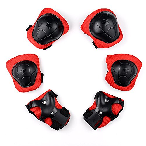 Inline Skating Kids Inline Skate Knee Elbow Pads, Wrist Protective Pad Set for Tricycle Bike Child Multi Sport Safety Chain (6 Pieces) (Rot)