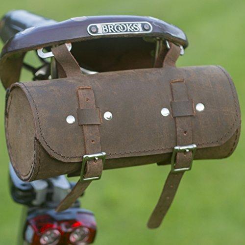 Classic sillín/manillar Roll bolsa de piel marrón para bicicleta herramientas