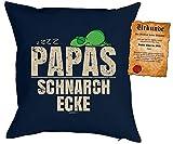 Papa Kissen Sprüche Vater Kuschelkissen - Väter Sprüche Kissen : zzzz… Papas Schnarch Ecke -- Kissen ohne Füllung + Urkunde -- Farbe: navyblau