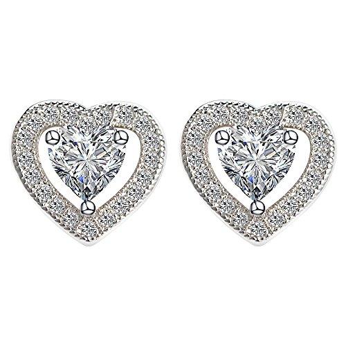 Weißes Gold überzog AAA + Zirkonia-Herz-Bolzen-Ohrringe für - Kristall-herz-bolzen-ohrringe